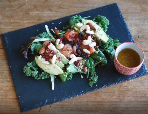 Recette de salade de fête : saumon, avocat, sauce agrumes